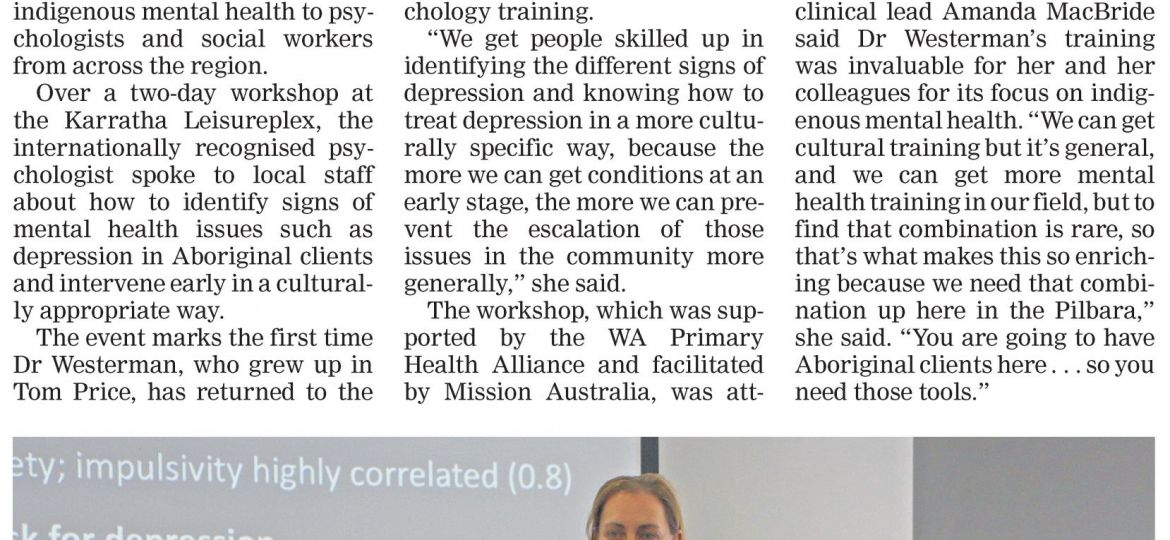 Indigenous mental health a vital focus Pilbara News 30 May 2018