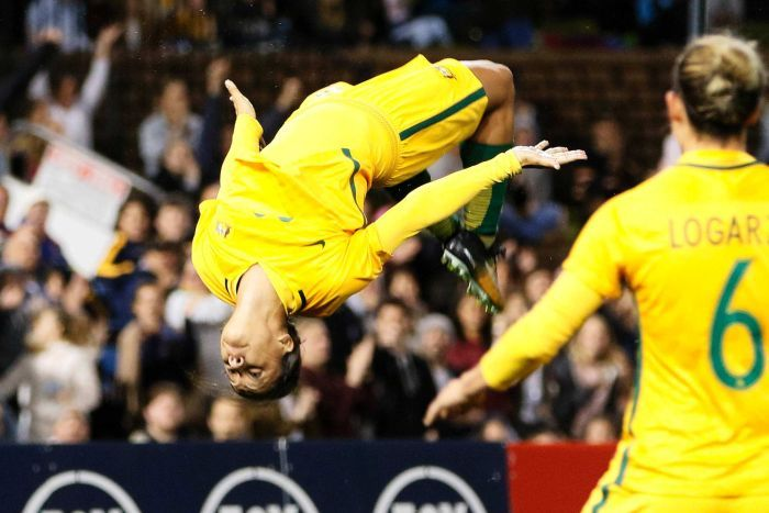 PHOTO: Sam Kerr of the Matildas celebrates after scoring a goal during the second match of the two-match International Series between the Australian Matildas and Brazil in Newcastle, Tuesday, September 19, 2017. (AAP: Darren Pateman)