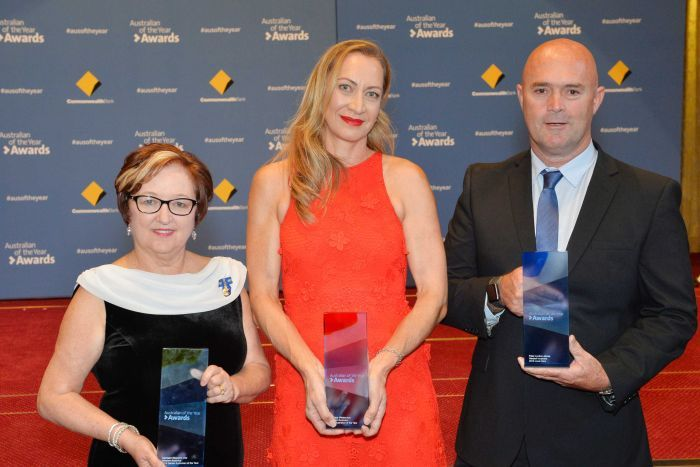 PHOTO: WA 2018 Australian of the Year winners Kathleen Mazeella, Tracy Westerman and Peter Lyndon-James. (Supplied: NADC)